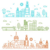 City illustration birds, buildings, cathedrals. City illustration in linear style birds, buildings, cathedrals, clouds, machines, cyclist graphic design template Royalty Free Stock Images