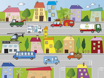 City. Illustration of city with building and transportations Royalty Free Stock Photo