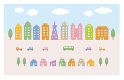 City illustration, buildings and cars  Stock Photography