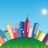 City Illustration. Illustration of a colorful city on a green hill Royalty Free Stock Image
