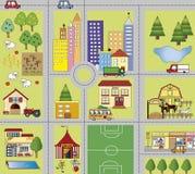 City. Illustration of fun cartoon cityscape Royalty Free Stock Photos