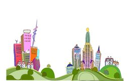 City illustration, modern life background Royalty Free Stock Photography