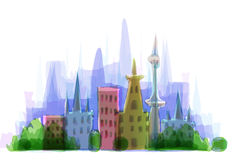 City illustration, modern life background Royalty Free Stock Photos