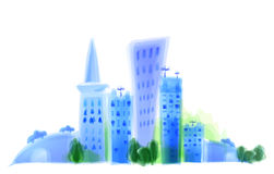 City illustration, modern life background Royalty Free Stock Images