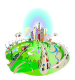 City illustration with roads, transport concept background Stock Photo