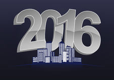 2016 city. Illustration of 2016 text with skyline city stock illustration
