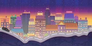City Illustrations for games, Night Background. 2d game application. Illustration for your application , project Royalty Free Stock Photography