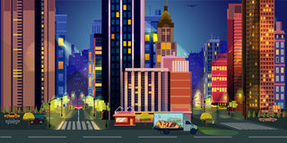 City Illustrations for games, Night Background. 2d Illustrations for games, Night City Background, Seamless Vector illustration for your application , project Royalty Free Illustration