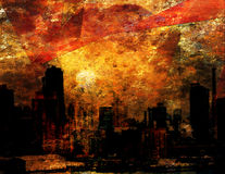 City Impression. Bright Saturated city sunset with angular forms Royalty Free Stock Photography