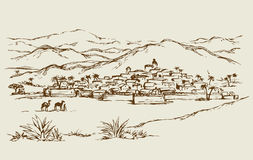 Free City In A Desert. Vector Drawing Royalty Free Stock Photos - 80627288