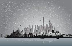 City In The Winter Night Stock Photo