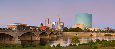City of Indianapolis. Panoramic image of Indianapolis skyline at sunset stock image