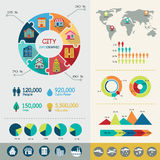 City infographic. Elements with icons and charts Vector Illustration
