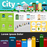 City infographics elements. Vectors urban life and town streets, transport buildings info vector illustration Stock Photo
