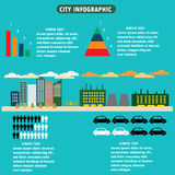 City infographics - flat design layout with icons, charts and de Stock Image