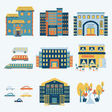 City infographics set with buildings and transportation elements. Vector illustration. Isolated elements Stock Photography