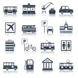 City infrastructure icons black. Set with tram pharmacy port taxi isolated vector illustration Stock Image