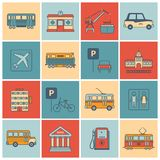 City Infrastructure Icons. Flat line set with bus oil bank tram isolated vector illustration Royalty Free Stock Photos