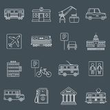 City infrastructure icons outline Royalty Free Stock Photo