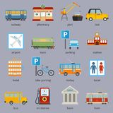 City infrastructure icons. Set with subway pharmacy port taxi  vector illustration Stock Photos