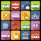 City infrastructure icons white. Set with airport metro parking station isolated vector illustration Vector Illustration
