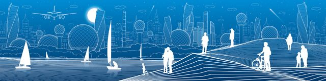 City infrastructure illustration. Yachts sail on the sea. People walking at shore. Modern city. Urban Panoramic. White lines on bl. Ue background. Vector design vector illustration