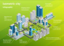 City Infrastructure Isometric Infographics royalty free illustration