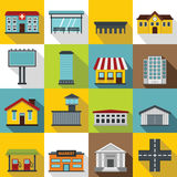 City infrastructure items icons set, flat style Stock Photos