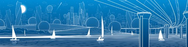 City infrastructure panoramic illustration. Big bridge across river. Sailing yachts on water. White lines on blue background. Vect. Or design art royalty free illustration