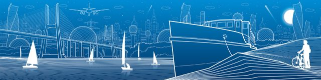 City infrastructure panoramic illustration. Big bridge across the river. Ship landed on sea shore. Sailing yachts on the water. W. Hite lines on blue background stock illustration