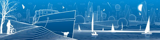 City infrastructure panoramic illustration. Cyclist with dog under tree. Ship landed at sea shore. Sailing yachts by water. Futuri. Stic town. White lines on stock illustration