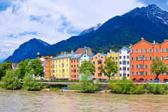 City of Innsbruck colorful Inn river waterfront panorama. Tyrol state of Austria royalty free stock photos