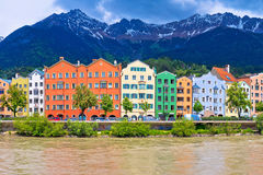 City of Innsbruck colorful Inn river waterfront panorama. Tyrol state of Austria royalty free stock photo