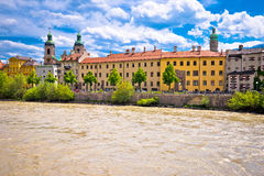 City of Innsbruck on Inn river waterfront view Royalty Free Stock Images