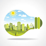 City inside the light bulb Stock Image