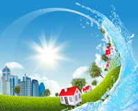City inside ocean wave. City bug eye view on green grass under blue sky with white clouds inside ocean wave Royalty Free Stock Image
