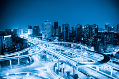 City interchange with blue tone. Expressway and viaducts in chengdu at night Stock Photo