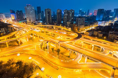 City interchange in chengdu at night Royalty Free Stock Photography