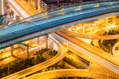 City interchange closeup at night. City interchange closeup with light trails on overpass, wuhan, China Royalty Free Stock Images