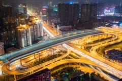 City interchange closeup at night. Wuhan overpass at night, city interchange on rush hour Stock Photography