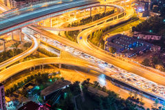 City interchange closeup with traffic congestion Royalty Free Stock Photography