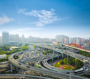 City interchange in the early morning rush hour Stock Photography