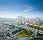 City interchange in morning. City overpass in the early morning rush hour ,shanghai ,China Stock Images