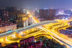 City interchange at night. Aerial view of city interchange overpass at night , wuhan, China Royalty Free Stock Image