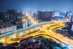 City interchange at night. City overpass at night, traffic infrastructure background in wuhan Stock Photography