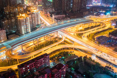 City interchange at night. City interchange overpass at night , wuhan, China Royalty Free Stock Images