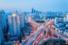 City interchange in nightfall Royalty Free Stock Photography