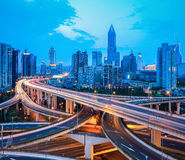 City interchange overpass at dusk Royalty Free Stock Photography