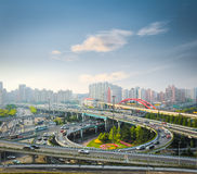 City interchange in rush hour. With the early morning sky ,shanghai ,China Stock Photo