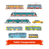 City and intercity transportation vehicles set Stock Image